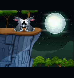 Cute a couple bunnies kissing on top cliff vector