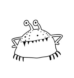 cute crab or shellfish monster coloring page vector image