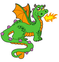Cute dragon with long tail vector