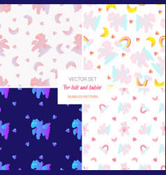 cute seamless pattern setcloudy horse and bear vector image