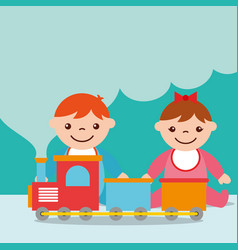 Cute toddler boy and girl with train wagons toy vector