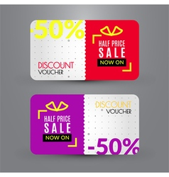 Discount voucher template for half price sale vector
