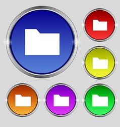 Document folder icon sign Round symbol on bright vector