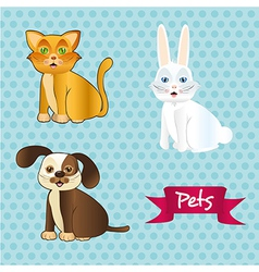 dog cat and rabbit sitting on tender dots pattern vector image