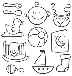 Doodle of baby object set vector