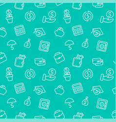 economy and finance linear seamless pattern vector image