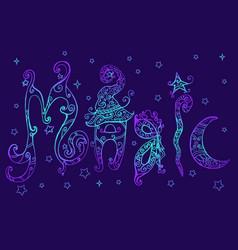Fantsy word magic color page neon color vector