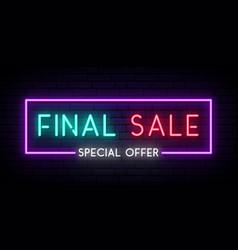 final sale neon signboard sale light banner vector image