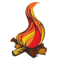 fire colored in hand drawing style vector image