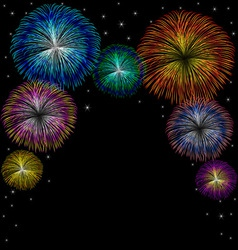 Fireworks with star on black background vector