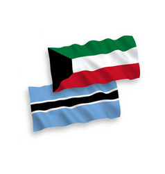 Flags botswana and kuwait on a white background vector