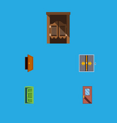 flat icon door set of door saloon entry and vector image