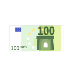 Flat simple one hundred euro banknote on white vector