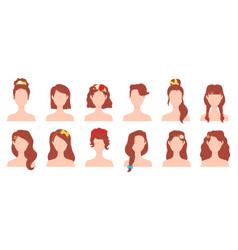 flat woman hairstyles with flower ribbon and bow vector image