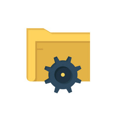 folder setting gear computing flat color icon vector image