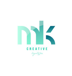 Green gradient pastel modern mk m k alphabet vector