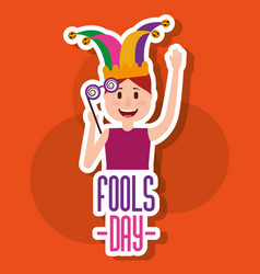 greeting card fools day festivity young man jester vector image