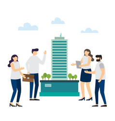 group architects create building project vector image