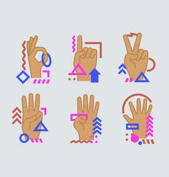 Hands showing numbers vector