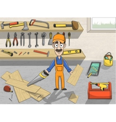 Happy carpenter character at work vector image