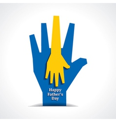 Happy fathers day with two hands of father child vector image