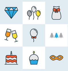 happy icons colored line set with festive mask vector image