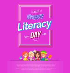 happy literacy day on pink vector image