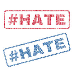 hashtag hate textile stamps vector image
