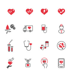 heart medical care icons healthcare and vector image