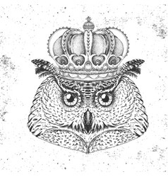 Hipster bird owl in crown hand drawing muzzle vector