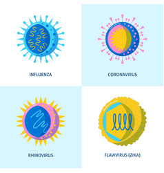 human virus icons collection in flat style vector image