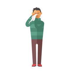 Illness flu man feeling cold and blowing his nose vector