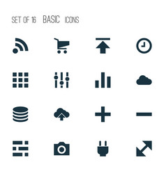 Interface icons set with apps feed camera and vector