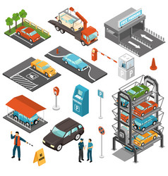 Isometric car parking icon set vector