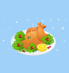 Isometric plate with roasted turkey on white vector