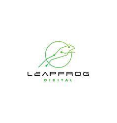 leap frog tech digital logo icon design vector image