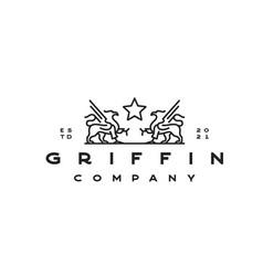 Line art griffin logo design template vector