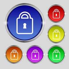 Lock icon sign Round symbol on bright colourful vector image