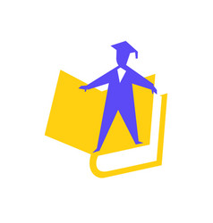 logo little man in book image is isolated on vector image