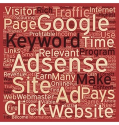 Make A Great Income With Adsense text background vector image