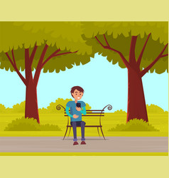 Man is sitting on bench in central city park vector
