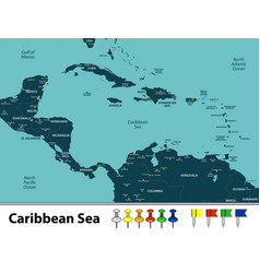 Map of caribbean sea vector