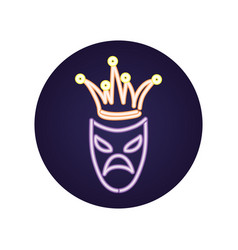 Mardi gras theater mask with jester hat vector