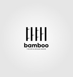Minimalist bamboo logo design in negative space vector
