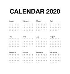 minimalistic desk calendar 2020 year design vector image