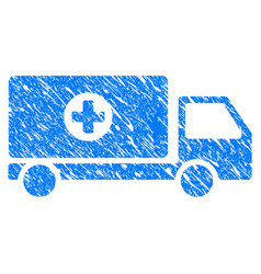Mobile hospital automobile grunge icon vector