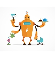 Multitasking robot character vector image vector image