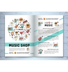 Music brochure modern icons line art style mock vector image