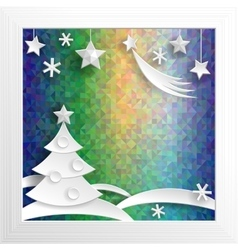 New Year decoration Paper X-mas on psychodelic vector image