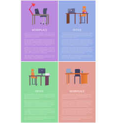 office workplace furniture desk table and chair vector image